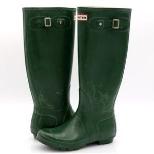 Hunter Womens Green Rubber Tall Rain Boots Shoes